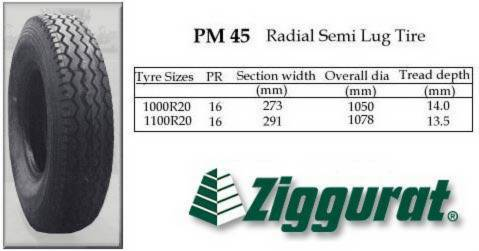 ZIGGURAT PM 45 Semi Lug Tire